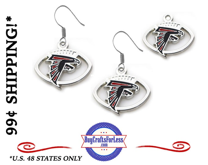 ATLANTA Enamel FOOTBaLL EARRINGs  - Super CUTE!  +99cent SHiPPiNG