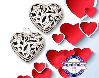 HEART Pendant, Open Work, Hollow, Silver Finish, 2, 4, 6 pcs +FREE SHiPPiNG & Doscounts*