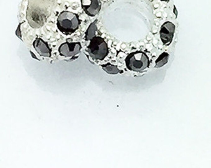 Rhinestone Pave Spacer BEADS,  Charcoal, 4 pcs **99cent Shipping -FREE 10+**
