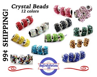 Glittery CRYSTAL GLASS BEADs, 12 COLORs, BiG HoLE 6, 12 or 24 pcs *99cent ShiPPing
