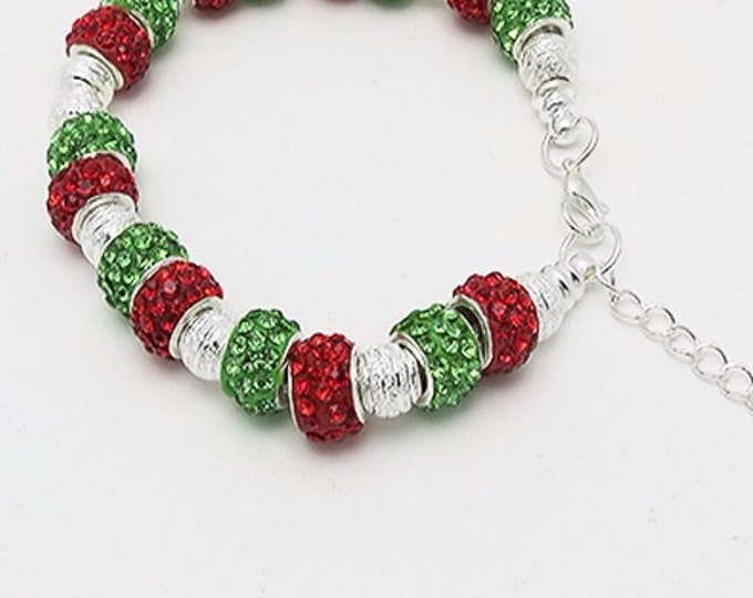 Holiday BRACELET with Silver Plated Beads & Crystals  **FREE SHIPPING**