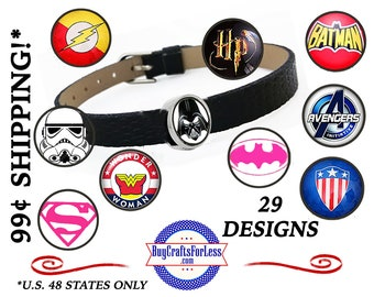 12mm CABOCHONs - FREE SUPERHEROs DESiGN -for 8mm Slider Bracelets, Hair Clips, Key Rings, Collars, Chokers *+99cent SHIPPING