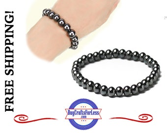 HEMATITE 6mm Bracelet, Magnetic Healing, Bead Style **FREE SHIPPING & Discounts*