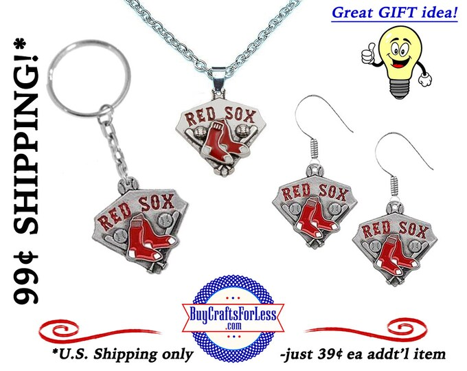 RED SoX Baseball KEYRiNG, EARRINGs or PENDANT *Limited Quantity* - Super CUTE!  +99cent SHiPPiNG