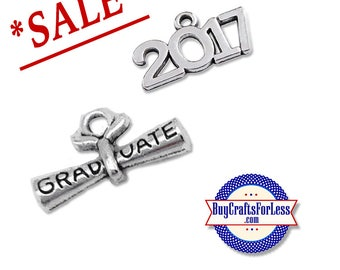 SALE ~ GRADUATiON Charms, Charms for GRADUATiON - 4 pcs, TWO of each style +FREE Shipping & Discounts*