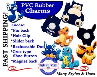 20% off *SALE* PVC Charms, CuTE CARTooNS *Choose back-Button, Hair Clip, Magnet- 99cent shipping - 39cents ea addt'l