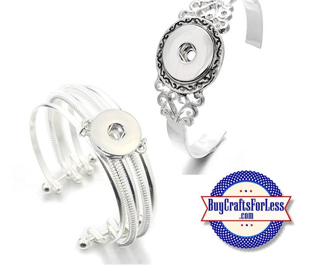 SNAP Button CUFF Bracelets, for Changeable 18mm Snap Buttons, 2 styles  +99cent Shipping-39cent ea addt'l item