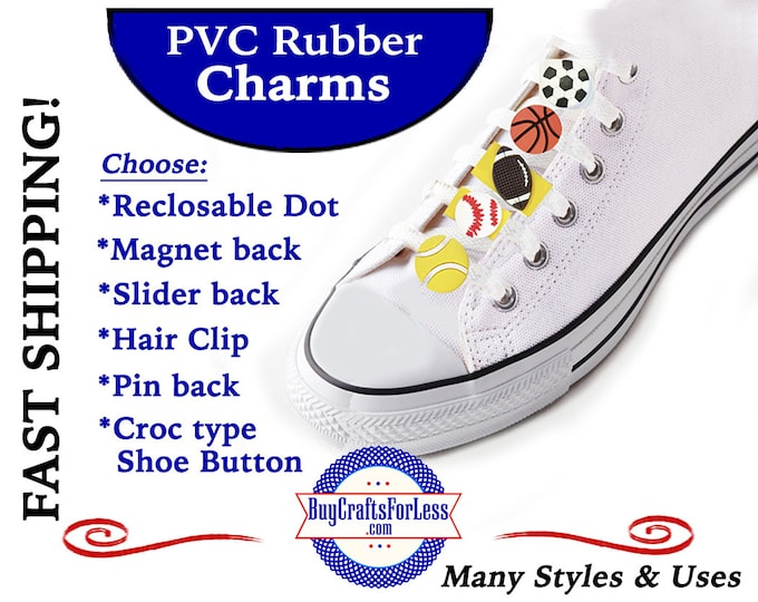 20% off *SALE* -PVC BUTTON Charms, SPoRTS Balls *Choose back-Button, Hair Clip, Magnet- 99cent shipping - 39cents ea addt'l