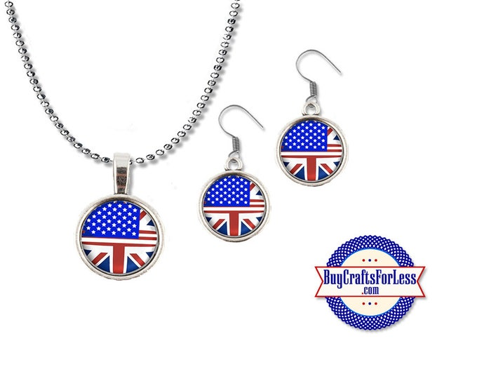 USA - UK Pendant and Earrings- Honoring Our Friendships - One Love - London - Manchester **FREE Shipping**