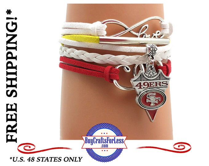 SAN FRANCiSCO BRACELET, Football GiFT, Leather Suede, Adjustable +FREE SHiPPiNG