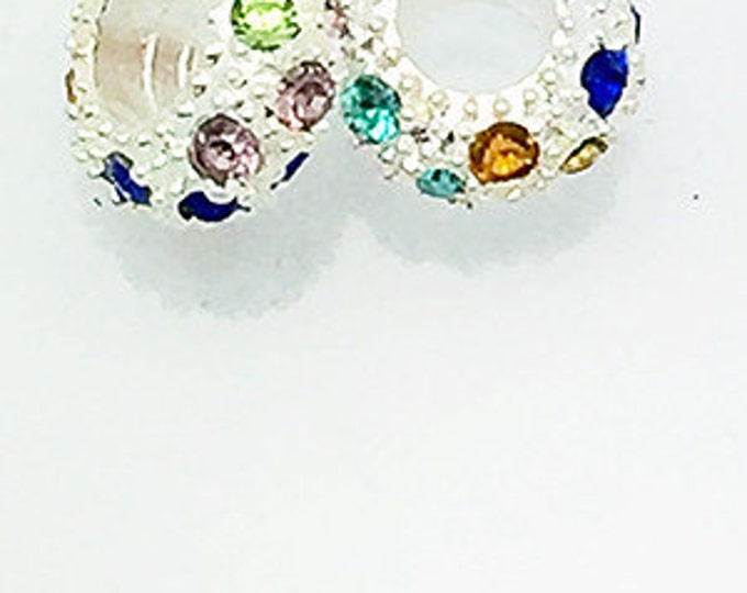 Rhinestone BEADS, Pave Crystal, Silver Plated, Multi, 4 pcs   ** **FREE Shipping-Order 10+**