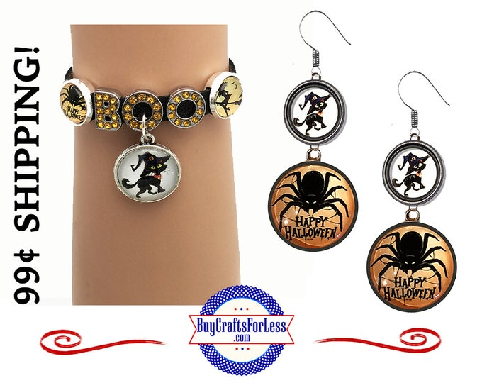 NeW HALLOWEEN EARRINGs or BRACELETs, Spider, Scary Cat - SUPER CUTE! +99cent Shipping