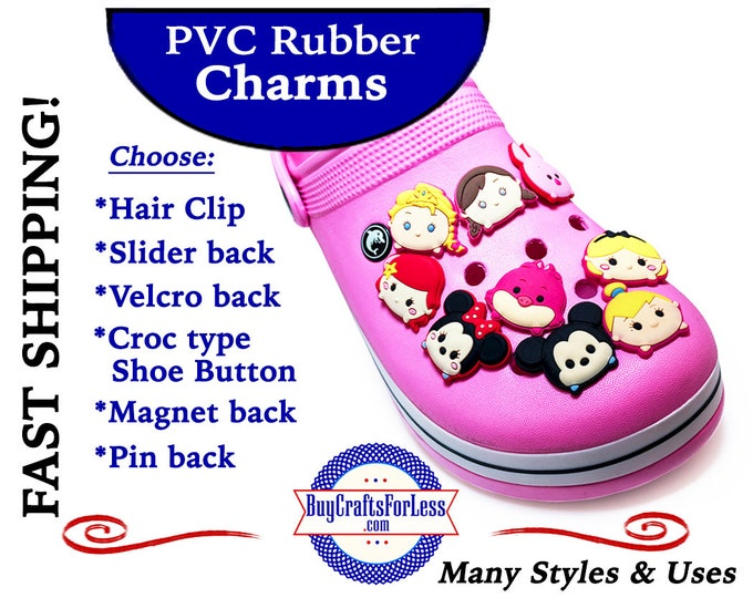 PVC Charms, ROUND ROLLiES Characters * 20% OFF Any 4 PvC Charms+ShipFREE *Choose back-Button, Pin, Slider, Hair Clip, Reclosable Dot, Magnet