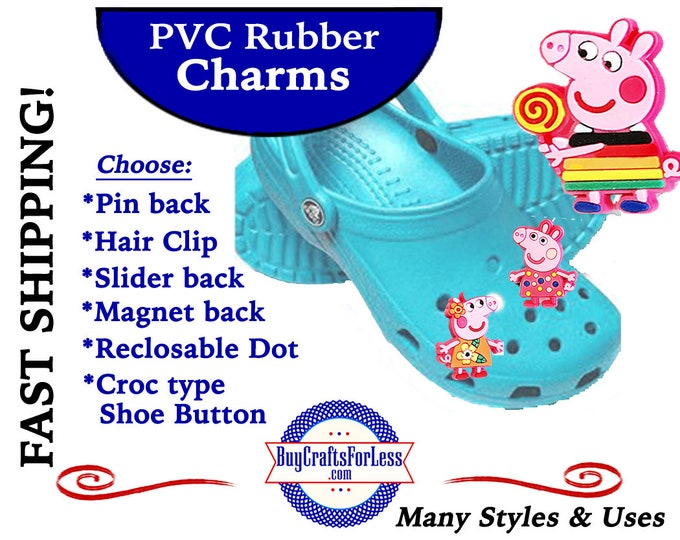 PVC Charms, CuTE PiGGiES * 20% OFF Any 4 PvC Charms+ShipFREE *Choose back-Button, Pin, Slider, Hair Clip, Reclosable Dot, Magnet