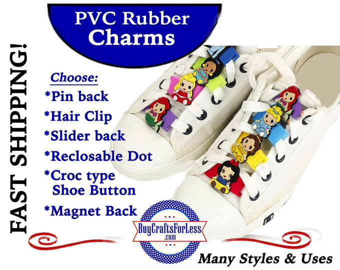 PVC Charms, Princess * 20% OFF Any 4 PvC Charms+ShipFREE *Choose back-Button, Pin, Slider, Hair Clip, Reclosable Dot, Magnet