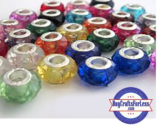 CLEARANCE -Acrylic BEADs, Faceted, ASSORTED Colors, 25 pcs  +FREE Shipping & Discounts*