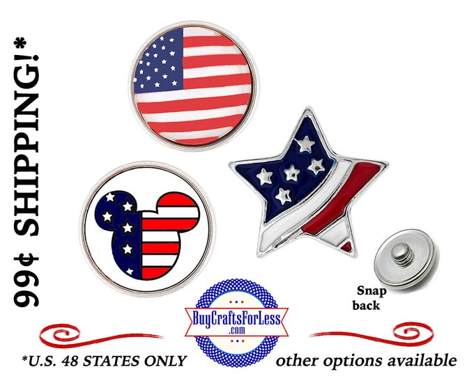USA SNAP BuTTON, Celebrate USA CHooSE from 3 Styles - Great SeLLER!  +99cent and Discounts*