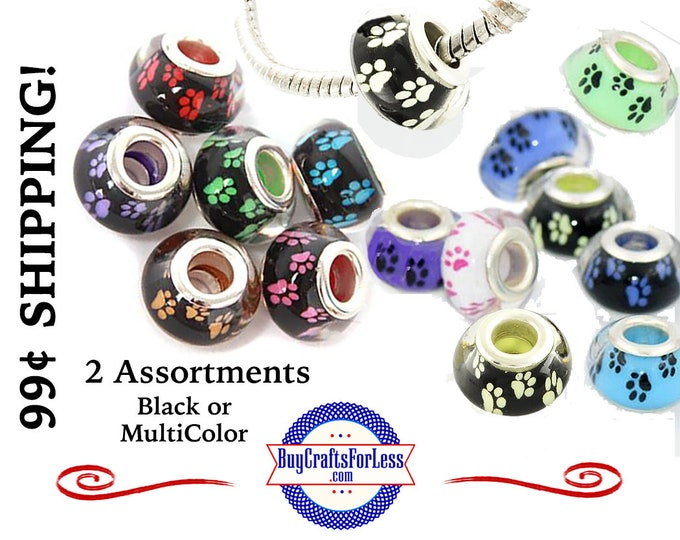 PAW Print Beads, CAT, DOG PaW Print, 2 Color Backgrounds, 4, 8, 12, 24 pcs asst'd colors +99cent Shipping