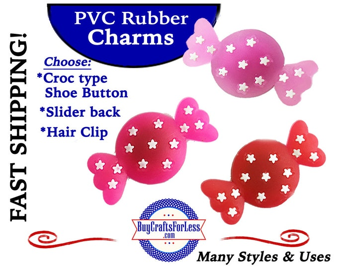 PVC Charms, CANDY, CaNDY, CANDy! Croc-Style Shoe Charms * 20% OFF Any 4 PvC Charms+ShipFREE *Choose back-Button, Slider or Hair Clip