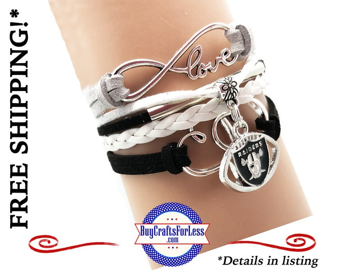 OAKLAND FooTBALL INFiNITY CHaRM BRaCELET, Football GiFT, Leather/Suede - Super NiCE! +99cent SHiPPING