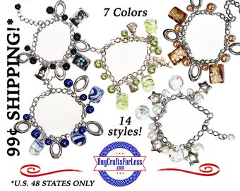 SALE! GEMSTONE Charm BRACELETs, 14 Styles, 7 colors, FREE Sheer Bag, clip end-Great GiFT +99cent Shipping