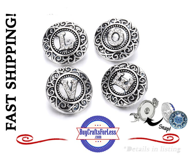 18mm SNaP Button LETTERS, Antique SiLVER, Rhinestone Letters - very nice! 99cent shipping!