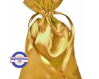"Solid SATIN Wedding / Party Favor Bag-its, 12 pcs 4 1/2"" x 7"", Gold +99cent SHiPPING & Discounts*"