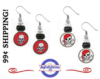 PiRATE HALLOWEEN EARRiNGS, Glass Cabochon, 2 Designs, 2 Styles PiRATES, Sparkle Beads, FREE Gift BoX!!  +99cent SHiPPiNG