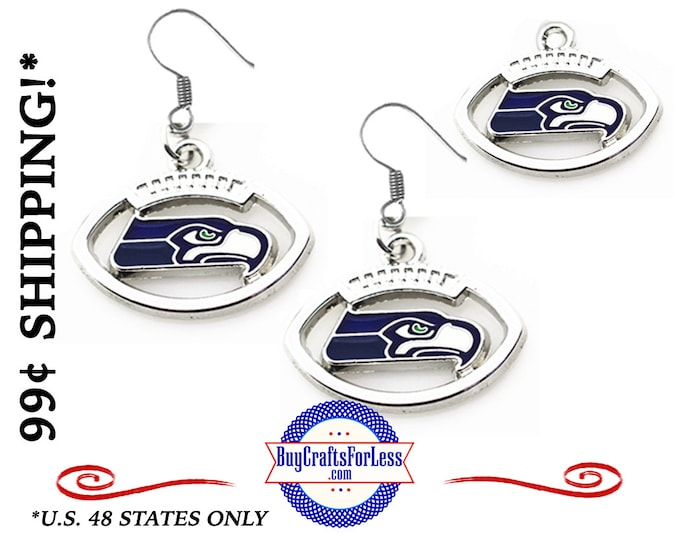 SEATTLE FOOTBALL EAARINGs or CHARMs, Very Nice  +99cent Shipping