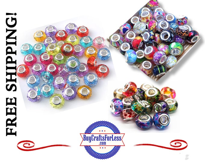 50 PCs -SALE ~ 50 PCs ASSORTED Beads, Glass, Crystal and Acrylic, Large Hole, 50 pcs **FREE Shipping*
