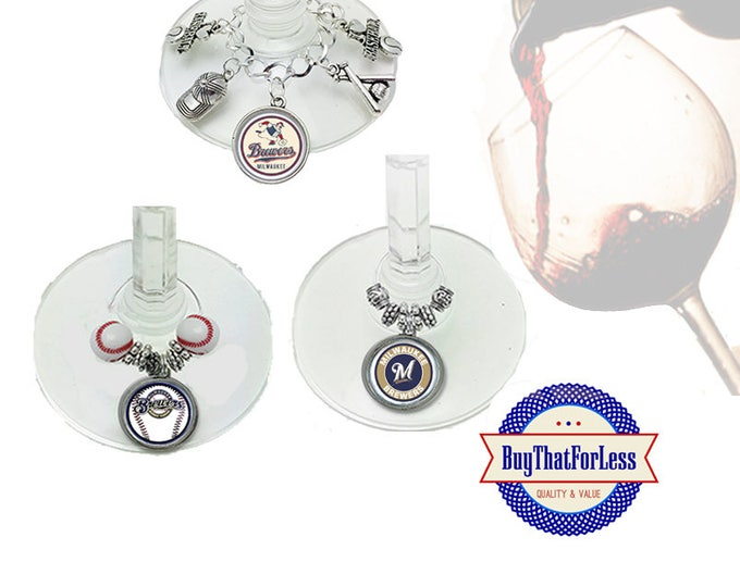 MILWAUKEE Wine or Bottle Charms, Napkin Rings, Set of 6, U Choose Style +FREE SHIPPING & Discounts*