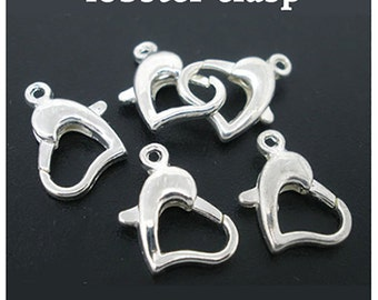 Heart Clasp, silver plated, 6 pcs  **FREE Shipping with orders 10 dollars+ **