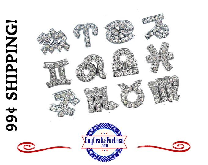 ZODIAC Rhinestone Silver 8mm Slide LETTERS for bracelets, chokers, collars, key rings, slider jewelry +99cent Shipping