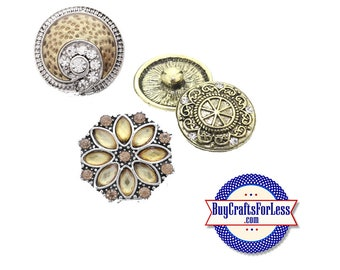 SNAP METAL Buttons, Gold Tones, 18mm INTERCHaNGABLE, NeW Style Buttons +FREE Shipping & Discounts