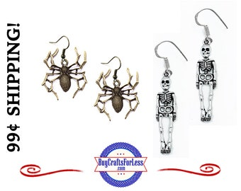 CLeRANCE ** HALLOWEEN SPiDER or SKELEToN EARRINGs, VeRY CUTE! +99cent Shipping
