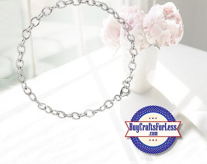Chain CHARM BRACELET, Round Links, clip end +FREE ShiPPing & Discounts*