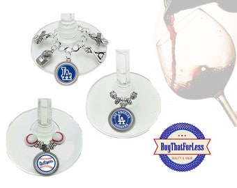 LOS ANGELES Wine or Bottle Charms, Napkin Rings, Set of 6, U Choose Style +FREE Shipping & Discounts*