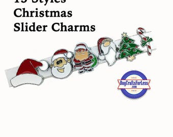 CHRISTMAS 8mm SLiDE Charms, for Slider Bracelets, Collars, Key Rings -12 Cute Styles! +FREE Shipping & Discounts*