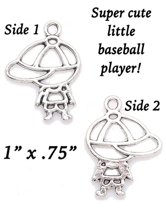 Baseball Player, CUTE Lil' Charms, 4 pcs +Discounts & FREE Shipping*