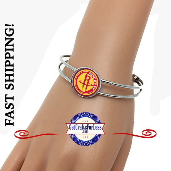 HOUSTON Basketball CuFF BRACELeT, CHooSE from 3 Designs - Super CUTE!  +FREE SHiPPiNG & Discounts*