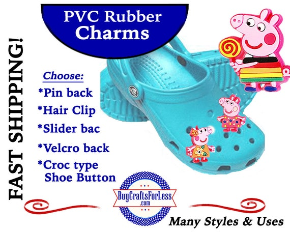 PVC Charms, PEPPA PiG * 20% OFF Any 4 PvC Charms+ShipFREE *Choose back-Button, Pin, Slider, Hair Clip, Velcro, Magnet