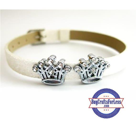 Rhinestone CROWN for 8mm SLIDE Bracelets, Key Rings, Collars, Napkin Rings +FREE Shipping & Discounts*
