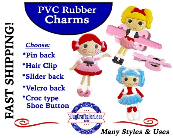 PVC Charms, LOOPSEY* 20% OFF Any 4 PvC Charms+ShipFREE *Choose back-Button, Pin, Slider, Hair Clip, Velcro, Magnet