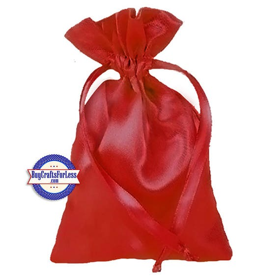 """Solid SATIN Wedding / Party Favor Bag-its, 12 pcs 4 1/2"""" x 7"""", Red  +FREE SHIPPING & Discounts*"""