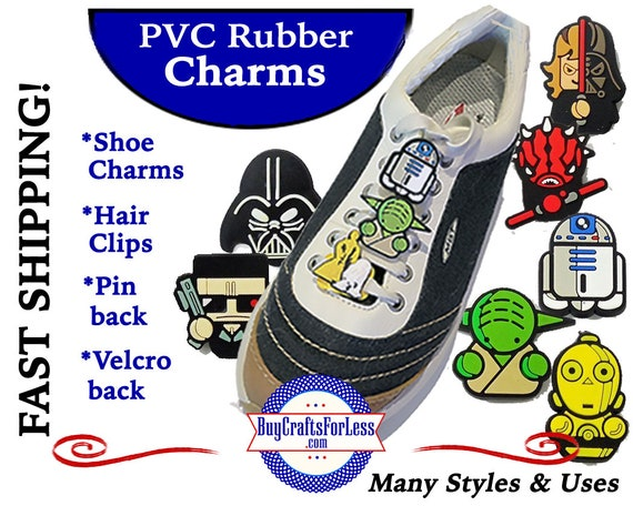 PVC Charms, STAR WARs * 20% OFF Any 4 PvC Charms+ShipFREE *Choose back-Button, Pin, Slider, Hair Clip, Velcro, Magnet