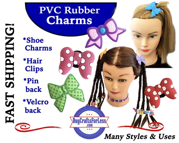 """PVC Charms, 2"""" Large BOWs * 20% OFF Any 4 PvC Charms+ShipFREE *Choose back-Button, Pin, Slider, Hair Clip, Velcro, Magnet"""