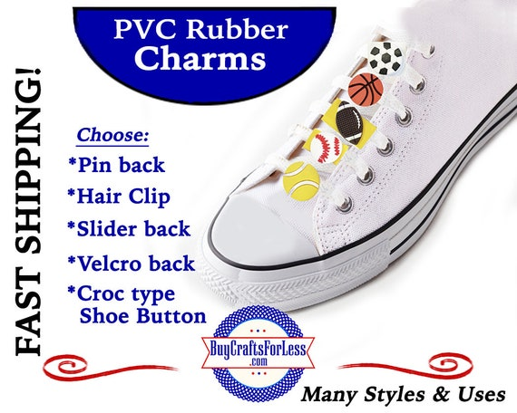 PVC Charms, SPORTS * 20% OFF Any 4 PvC Charms+ShipFREE *Choose back-Button, Pin, Slider, Hair Clip, Velcro, Magnet