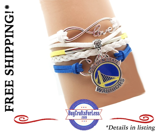 GOLDEN STaTE WARRiORS INFiNITY CHaRM BRaCELET, Leather/Suede, Choose Clasp - Super NiCE! +FREE SHiPPING & Discounts*