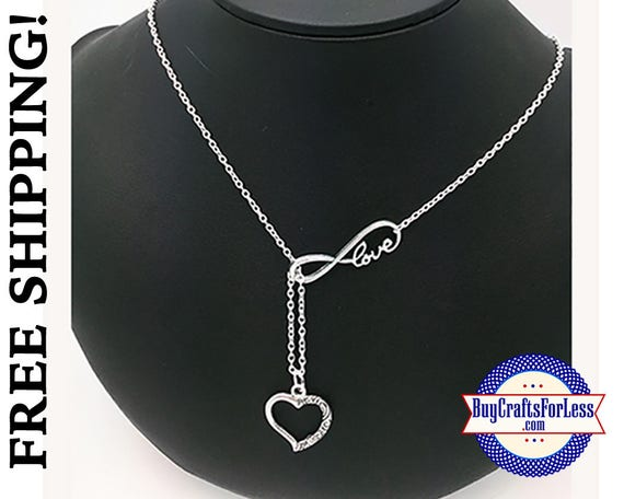 """Infinity HEART Necklace, 24"""", Gift Box Avail. - Best Seller +FREE SHIPPING & Discounts*"""