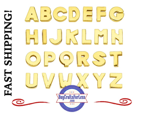 PLAiN GOLD Slider 8mm LETTERS Bracelets, Key Rings, Pendants, Pet Collars or Chokers +99cent hipping & DISCOUNTS